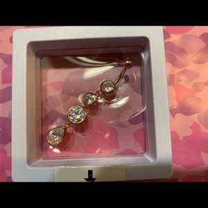 Jewelry - Rose Gold White Crystal Belly Button Ring